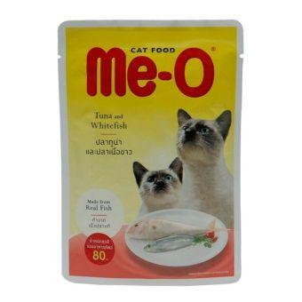 รีบซื้อ ก่อนปรับราคา Me-O Pouch Tuna and Whitefish อาหารแมวชนิดเปียกสำหรับแมวทุกสายพันธุ์ สูตรปลาทูน่าและปลาเนื้อขาว ขนาด 80กรัม 24ซอง ราคาถูก
