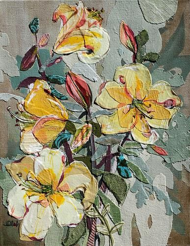 Karin Olah, original fine art paintings with fabric and mixed media | Floral