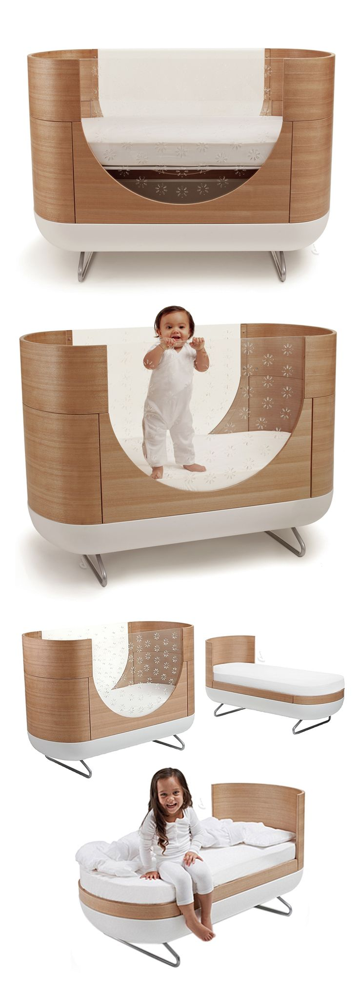 Modern crib converts into a toddler bed!