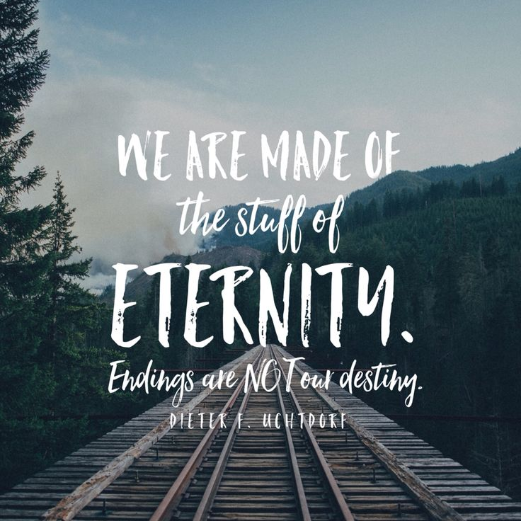 """""""We are made of the stuff of eternity. Endings are not our destiny."""" -Dieter F. Uchtdorf"""