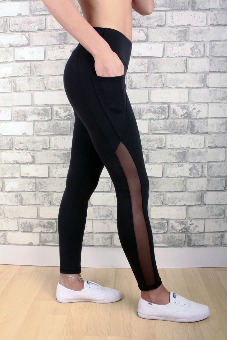 Jordyn leggin with mesh design up the side of leg and two pockets