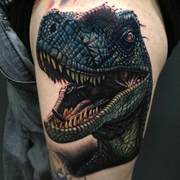 """Nikko Hurtado on Instagram: """"Here is how far we got last night on this #dinosaur #raptor #Jurassicpark tattoo still needs about 2/3 hours left it was huge. Start of a larger piece. Dude flew from Canada. Thanks bro much appreciated."""""""