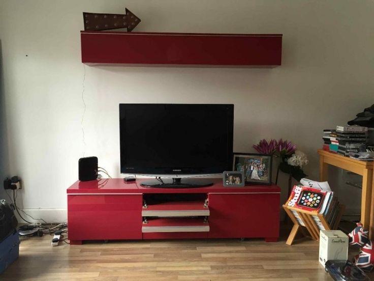 Ikea Besta Regal -aufbewahrungssystem-tv-wand-tv-konsole-hovhglanz-rot-himbeerfarbe