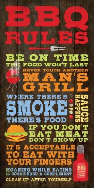 Earth de Fleur Homewares - Word Print Inspirational Sign BBQ Rules