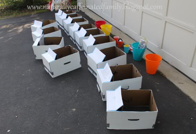 Copy paper box cars for kids to decorate and race
