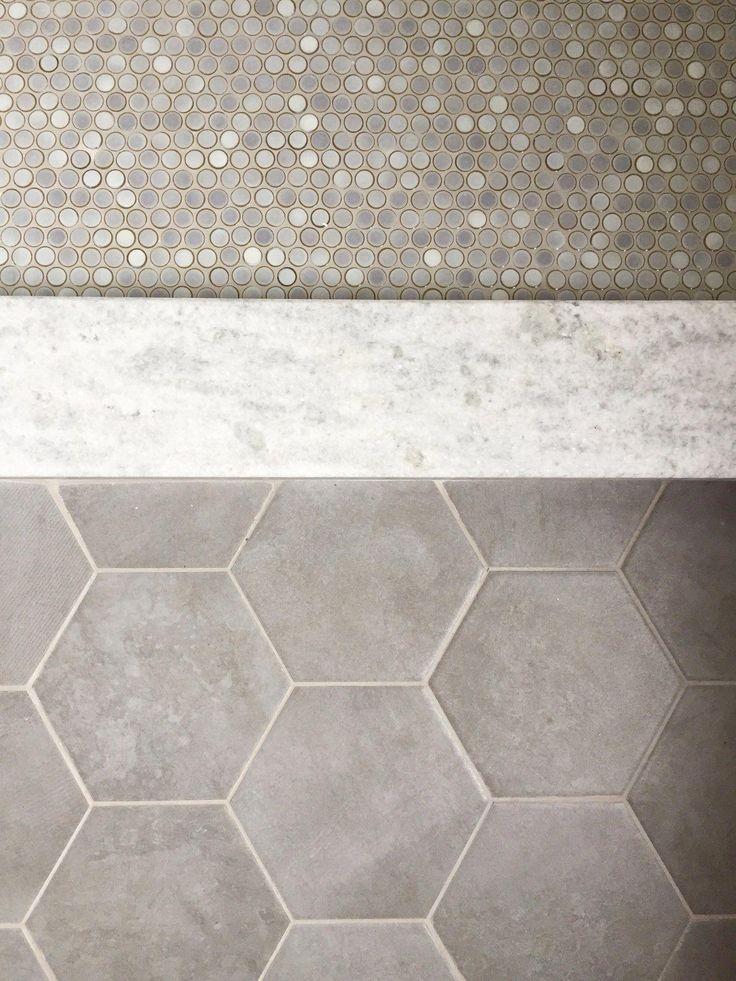tile flooring, penny tile, hex tile, white granite, master