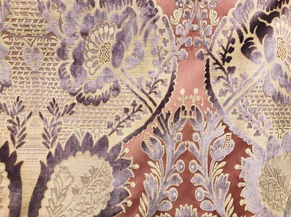 SWATCH Upholstery Italian Burnout Damask Chenille Velvet Fabric Bronze /& Teal