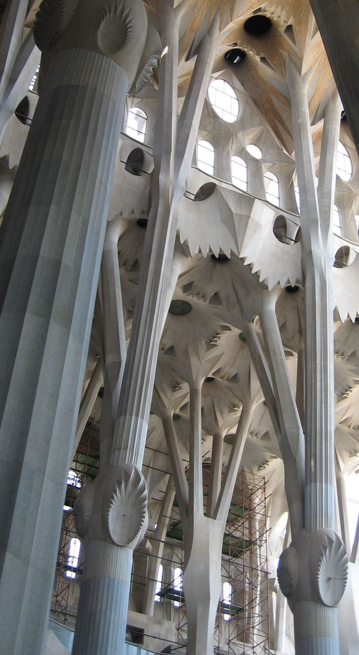 Gaudí, La Sagrada Familia,   what an amazing building, green conception, trees, leaves, flowers...(Barcelona,Catalonia)