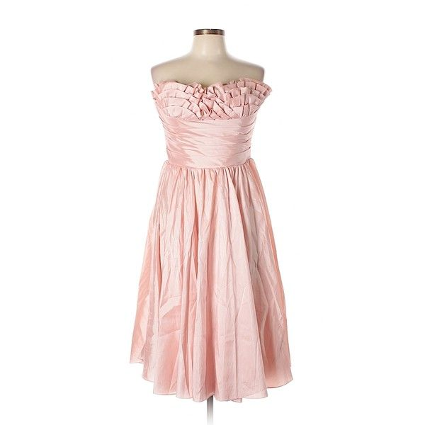 Unique Vintage Cocktail Dress (39 CAD) ❤ liked on Polyvore featuring dresses, light pink, vintage dresses, pink dress, unique vintage dresses, light pink cocktail dress and light pink dress