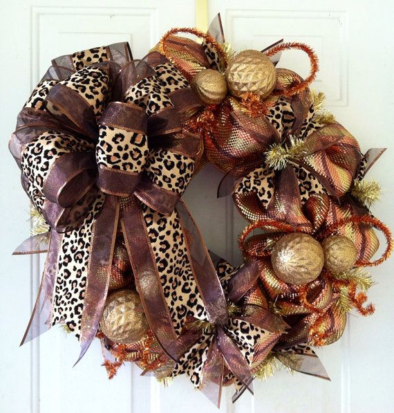 FALL SALE: Whimsical, Brown, Copper & Gold Metallic Striped, Chocolate Brown and Leopard Animal Print Wreath Bow, Deco Mesh Christmas Wreath on Etsy, $65.00