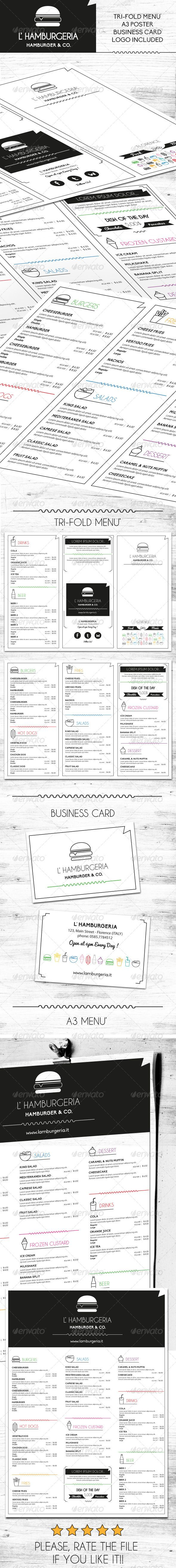 Hamburger Menu Template #design #alimentationmenu Download: http://graphicriver.net/item/hamburger-menu/6587350?ref=ksioks