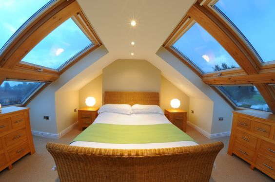 Even low roof loft conversions can be made to be airy with the use of a lot of veluxs 2 groups of 4 windows in one of our smaller loft conversions by apexloft.com this was a hip to gable loft.: