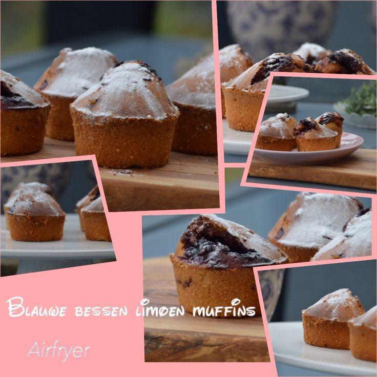 Blauwe bessen limoen muffins. Volgens basisrecept Laura's Bakery. 20 minuten op 200 graden in Airfryer.  8 stuks. Gemaakt.
