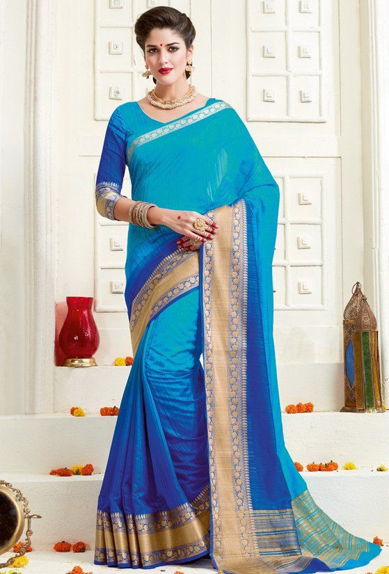 Royal Blue and Firozi Bonga Silk Saree