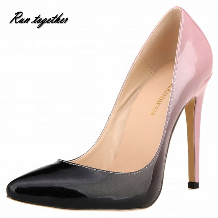 New loslandifen women pumps fashion pointed toe high heels shoes woman party wedding gril's discolor slip on thin heel shoes
