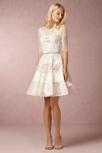 Gorgeous little white lace dress for your wedding rehearsal. 'Barletta' dress by Watters at BHLDN