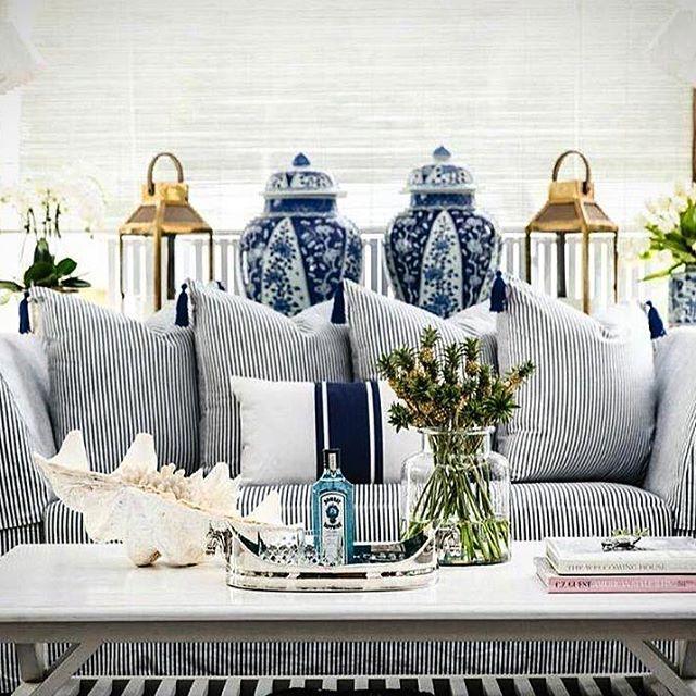 SKIPPER BLUE TICKING (100% cotton twill) @stuartmemberyfabrics  Interior by Nina Beale @bungalow55 Singapore #rivierapillow #shoponline #shipworldwide  @stuartmemberyhome
