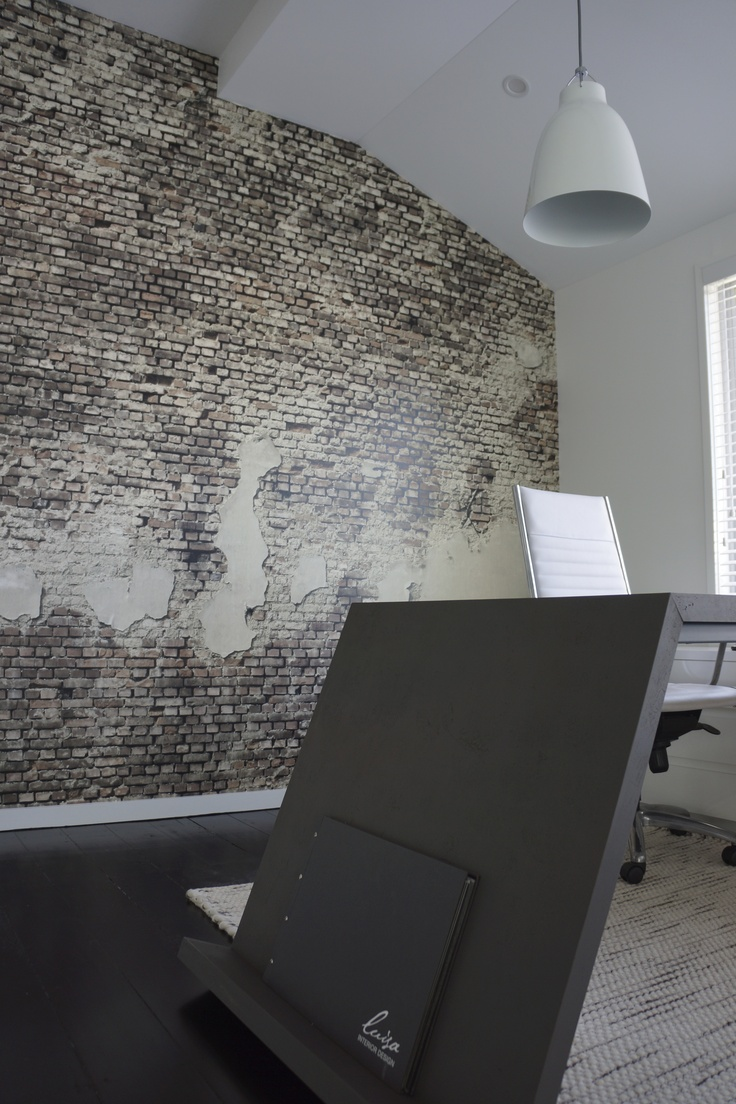 concrete desk + brick wallpaper + caravaggio   Luisa Interior Design office