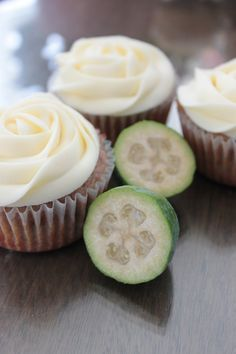 Feijoa Cupcakes with Cream Cheese Frosting - PhD Baker