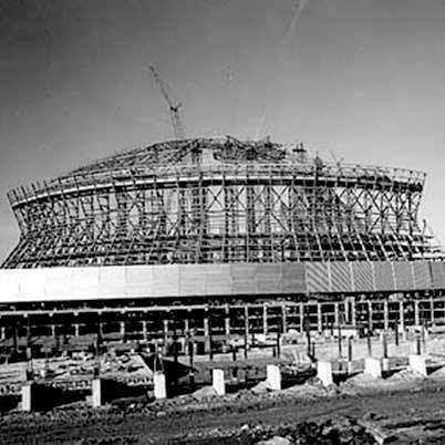 1975- the beginning construction of the New Orleans Super Dome. Geaux Saints!