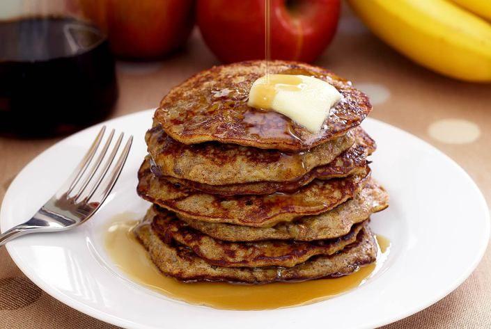 Paleo Apple-Cinnamon Pancakes Recipe (2 eggs, whisked 2 bananas, mashed 1 peeled apple, diced small 2 tbs almond butter 1 1/2 tsp cinnamon 1/2 tsp nutmeg 1 tsp pure vanilla extract)