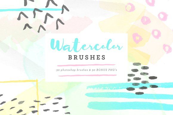 Watercolor Brushes by Sugar and Ink on @creativemarket