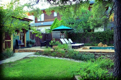 Relaxing small backyard with pool #relax #small #lawn #pool: Small Backyard, Photo