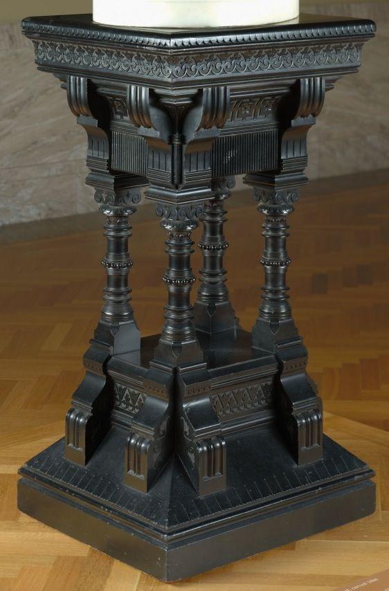 DANIEL PABST, Attribution, Ebonized Pedestal, American, C. 1870, 91cm |.  Gothic FurnitureCleveland ...