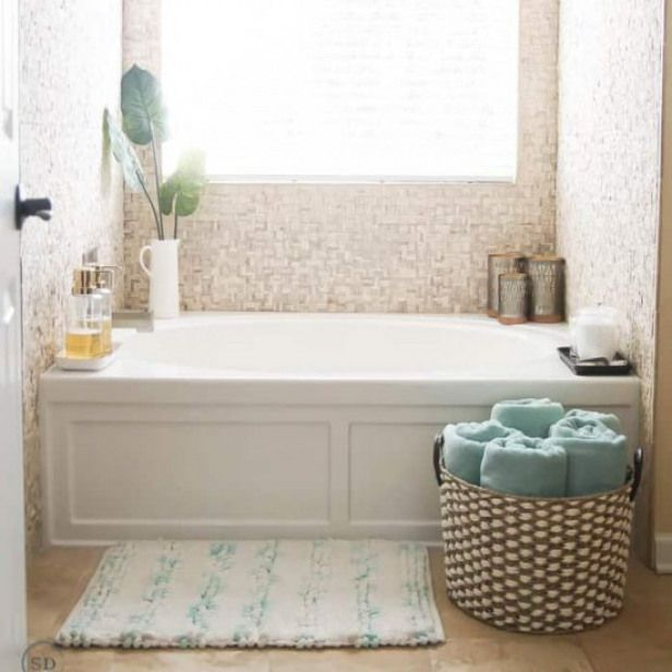How To Decorate A Bathtub Give Your Bathtub Simple Luxurious Style On A Budget Bathrooms Shower Renovation Spa Like Bathroom Shower Stall