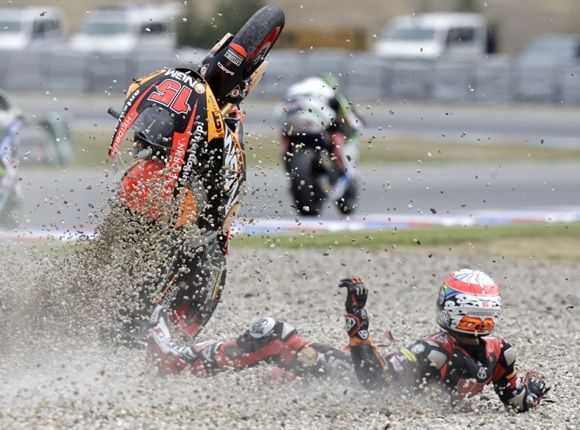 Speed Up Moto2 rider Alex De Angelis of San Marino crashes in the class race during the Czech Grand Prix in Brno.