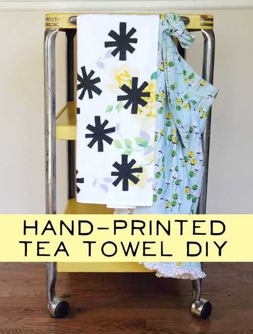 Hand Printed tea towel diy