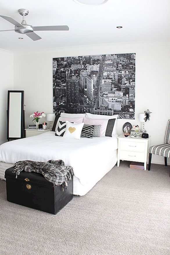 bedroom white black pink | Gold bedroom, Home bedroom, Home ...