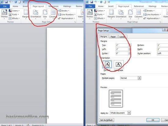 how to change page setup in microsoft word