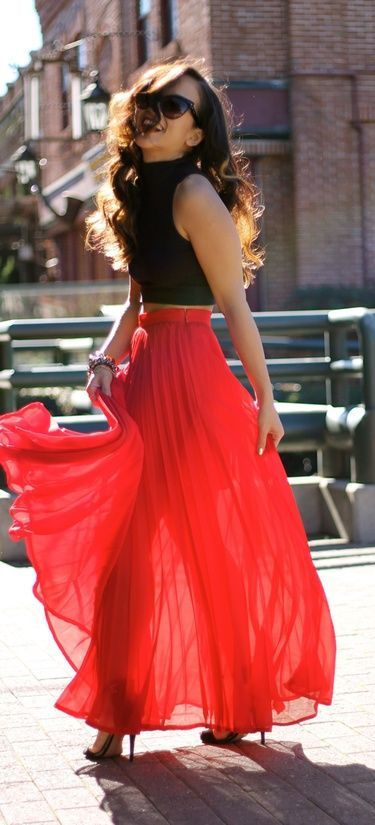 Red Pleated Maxi Skirt and black, turtle-neck top♥
