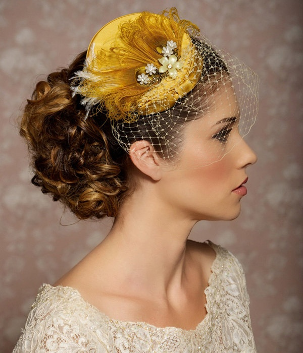 Mustard Yellow Bridal Hat, Bridal Head Piece, Fascinator, Vintage Pillbox, Hat with Veil, Birdcage Veil - MARIANNE. $89.00, via Etsy.