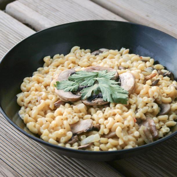 Coquillettes façon risotto aux champignons (végétalien)