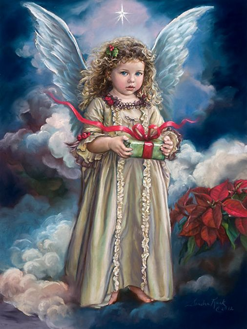 If you love children and angels and Christmas, then this is a picture you need to own yourself!! What a cutie! Sandra Kuck, artist, painted this and it's for sale on our web site!
