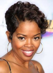 Eye Catching short haircut with up do African American