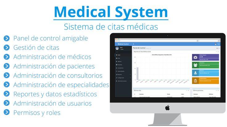 El sistema: Medical System es un software desarrollado con PHP & MySQL, que te permitirá llevar el control y la programación de citas médicas en línea, este sistema es ideal para médicos, clínicas y hospitales.