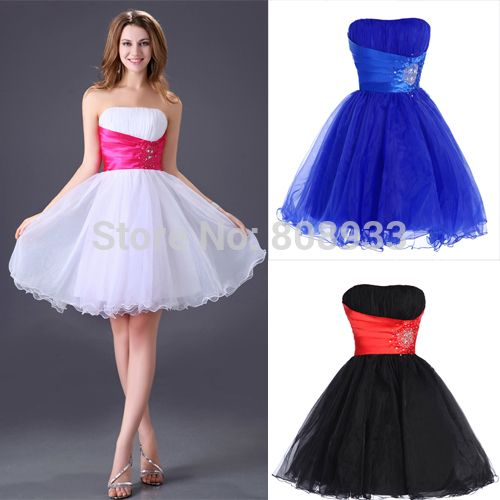 Designer Cheap Short Prom Dress 2015 Party Dress special occasion dresses vestidos Cocktail Dress Lace Up Prom Gown Voile 4097