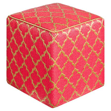 Found it at AllModern - World Tangier Cube Ottoman in Pinkberry & Bronzehttp://www.allmodern.com/deals-and-design-ideas/p/Scandinavian-Style%3A-Textiles-World-Tangier-Cube-Ottoman-in-Pinkberry-%26-Bronze~FHT1260~E14996.html?refid=SBP.rBAZEVQaL8Gtx2zLV1ipAtv4RIhSxEvPnfOPyRr8uTY