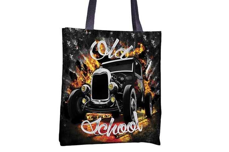"""Tote Bag - """"Old School"""" http://www.lawleypop.ca/shop/product/tote-bag-old-school/ OFFICIAL LAWLEYPOP MERCHANDISE #allover #full #seamless #doublesided #print #printed #printing #lawleypop #lwleypop #lawleypopdesign #lawleypopmerch #fashion #accessories #style #bags #totes #totebags #handbags #shoulderbags #chic #street #urban #unique #custom #art #design #classic #cars #muscle #vintage #retro #50s #60s #tford #henryford #hotrod #hot #rod #pimp #mobile #auto #motorhead #label #logo #brand…"""