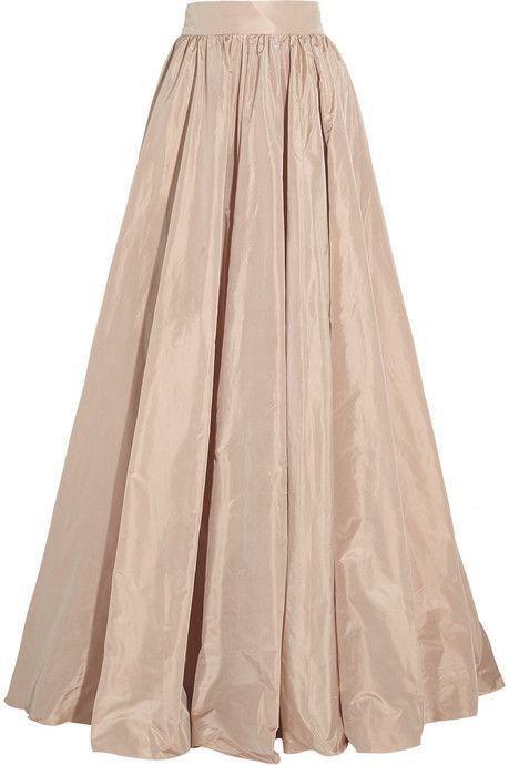 Jenny Packham Pleated silk-taffeta maxi skirt