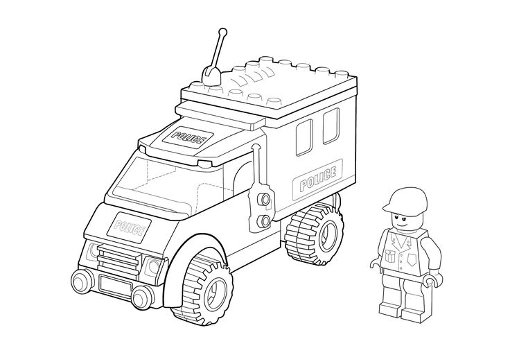 Lego police car coloring page for kids, printable free ...