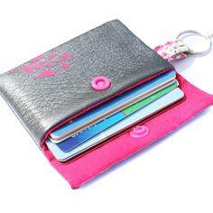 Porte cartes femme simili cuir argenté et tissu rose °le petit oiseau°