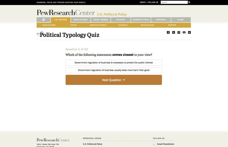 http://www.people-press.org/quiz/political-typology/ - Content and format of quiz for political typology
