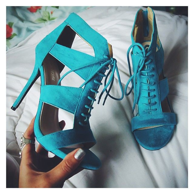 Teal high heel boots