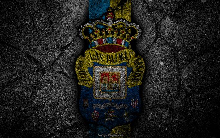 Download wallpapers Las Palmas, logo, art, La Liga, soccer, football club, LaLiga, grunge, Las Palmas FC