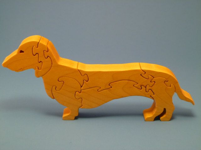 Scroll Saw Wooden Dachshund Puzzle Wood Handmade by WoodAnimals, $20