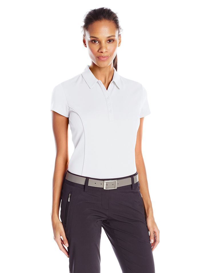 PGA TOUR Women's Golf Performance Short Sleeve Solid Polo Shirt with Piping, Bright White, M. 100 percent polyester. Air flux: innovated ventilation for ultimate comfort. Drifter: moisture absorption and control for cooler, drier comfort. Easy care: machine washable, maintains its smoothness. Sun flux: protects your skin from the sun's harmful rays. Motion flux: innovative seams define range of motion.